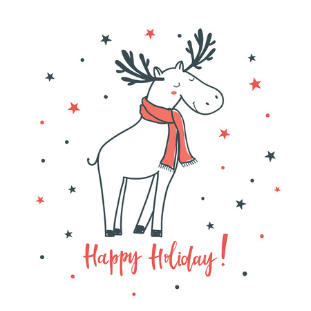Happy holiday. Cartoon vector illustration with christmas deer. Use for print design, surface design, gift, greeting cards Ilustração
