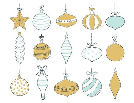 Set of Christmas tree toys. Vector illustration Ilustração