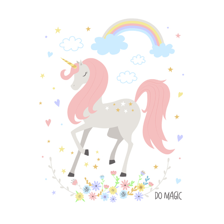 Unicorn cute illustration for kids. T-shirt graphic for kids clothing. Use for print, surface design, fashion kids wear