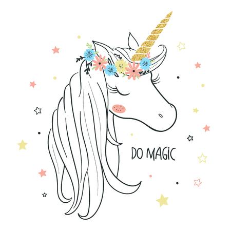 Unicorn head. T-shirt graphic for kids clothing. Use for print, surface design, fashion kids wear Ilustração