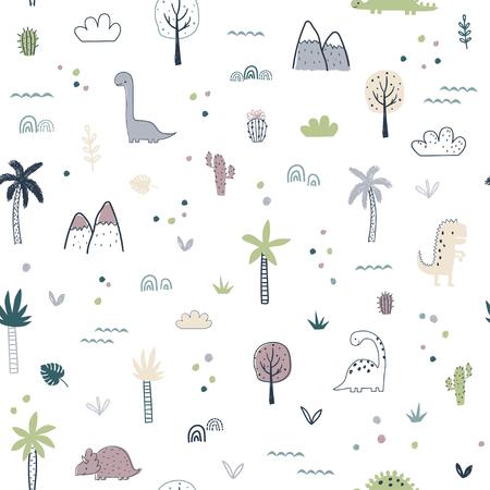 Cartoon seamless pattern with dinosaurs. Vector illustration for kids. Use for print design, surface design, fashion kids wear Ilustração