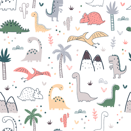 Cartoon seamless pattern with dinosaurs and palm trees. Vector illustration for kids. Use for print design, surface design, fashion kids wear Ilustração