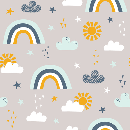 Seamless childish pattern with sun, rainbow, clouds and stars. Vector illustration. Use for textile, print, surface design, fashion kids wear Ilustração