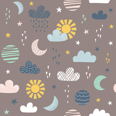 Seamless pattern for children with sun, moon, clouds and stars. Vector illustration. Use for textile, print, surface design, fashion kids wear