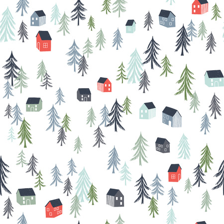 Seamless pattern with trees and houses. Vector illustration. Use for textile, print, surface design, fashion kids wear
