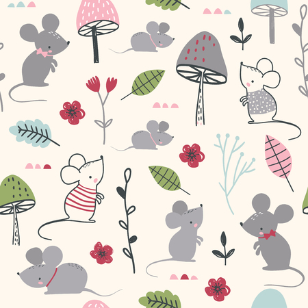 Seamless childish pattern with mouses, mushroom and flowers. Vector illustration. Use for textile, print, surface design, fashion kids wear Çizim