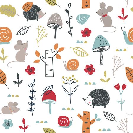 Nahtloses kindisches Muster mit Mäusen, Schnecken und Pilzen. Vektor-Illustration. Verwendung für Textilien, Druck, Oberflächendesign, Mode für Kinder