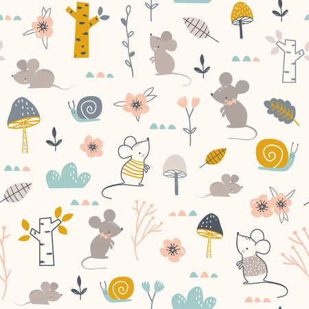 Seamless childish pattern with mouses, snails and flowers. Vector illustration. Use for textile, print, surface design, fashion kids wear Çizim