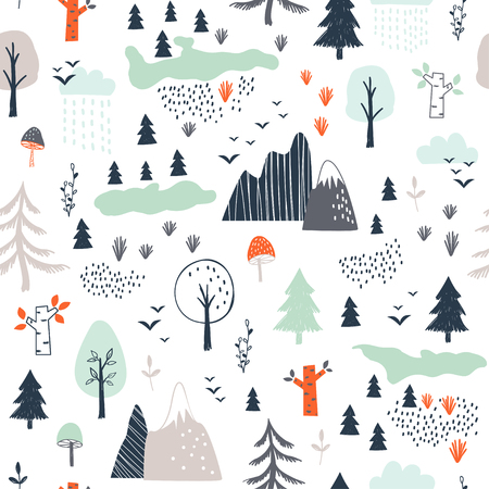 Seamless childish pattern with trees, mountains and clouds. Vector illustration. Use for textile, print, surface design, fashion kids wear