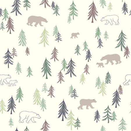 Seamless pattern with trees and bears. Vector illustration. Use for textile, print, surface design, fashion kids wear