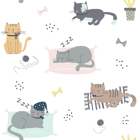 Seamless childish pattern with cats. Cartoon vector illustration use for textile, print, surface design, fashion kids wear