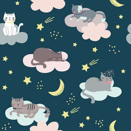 Seamless childish pattern with cats, clouds, moon and stars. Cartoon vector illustration use for textile, print, surface design, fashion kids wear Çizim