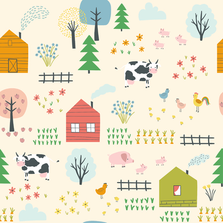 Seamless landscape pattern with village, cows, chickens, piglets and plants. Vector illustration. Use for textile, print, surface design, fashion kids wear