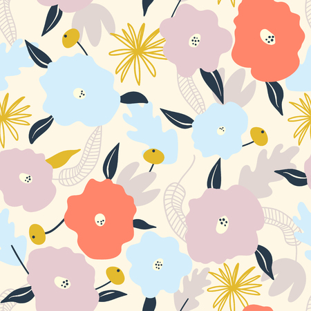 Seamless pattern with abstract flowers. Cartoon vector illustration use for textile, print, surface design, fashion wear Çizim
