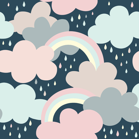Seamless pattern with clouds, rainbow and drops. Cartoon vector illustration use for textile, print, surface design, fashion kids wear Çizim
