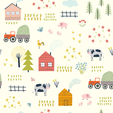 Seamless childish pattern with village landscape , cows, chickens, piglets and plants. Vector illustration. Use for textile, print, surface design, fashion kids wear Vettoriali