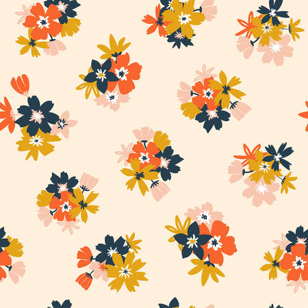 Colorful seamless pattern with flowers. Vector illustration on modern style