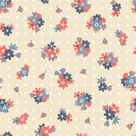 Colorful seamless pattern with flowers and points. Vector illustration