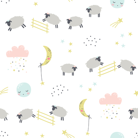 Good night. Childish seamless pattern with sheeps. Vector illustration. Use for textile, print, surface design, fashion kids wear