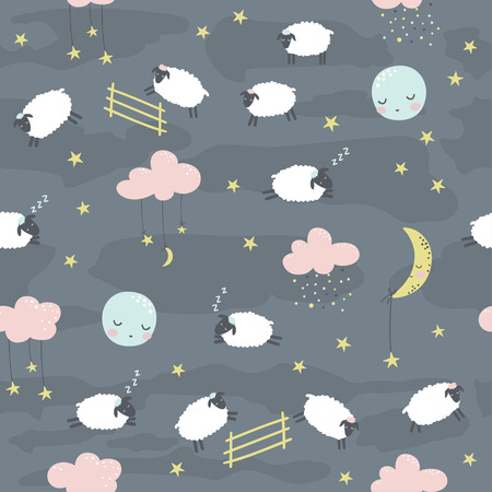 Seamless childish pattern with sheeps. Vector illustration. Use for textile, print, surface design, fashion kids wear