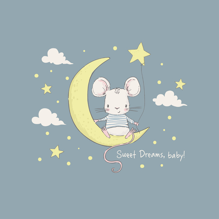 Cute little mouse on the moon. Cartoon vector illustration for kids. Use for print design, surface design, fashion kids wear, baby shower