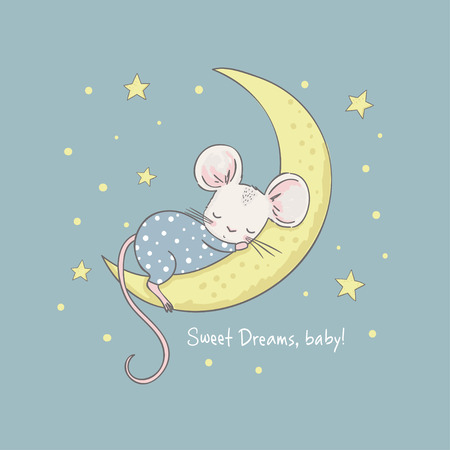 Little mouse on the moon. Cartoon vector illustration for kids. Use for print design, surface design, fashion kids wear, baby shower