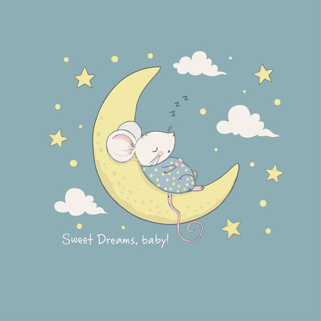 Sweet dreams. Cartoon vector illustration for kids. Use for print design, surface design, fashion kids wear, baby shower Ilustração