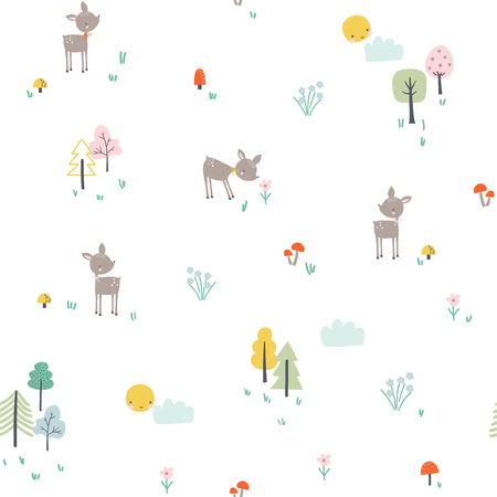 Childish seamless pattern with little deer in the forest. Vector illustration in scandinavian style                            Colorful seamless pattern with flowers on modern style. Vector illustration Çizim