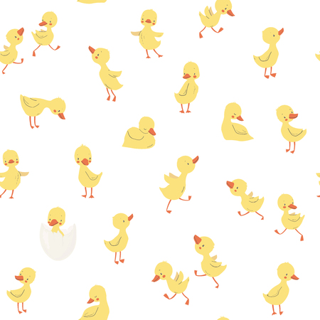 Childish pattern with little ducklings. Vector illustration. Use for textile, print, surface design, fashion kids wear
