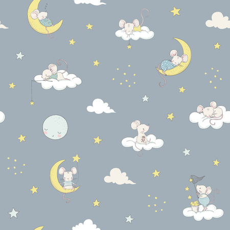 Childish seamless pattern white cute little mouses on the moon. Cartoon vector illustration. Use for print design, surface design, fashion kids wear, baby shower