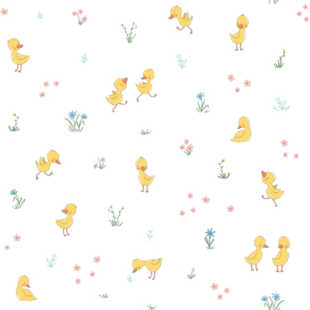 Childish seamless pattern with cute ducklings. Vector illustration. Use for textile, print, surface design, fashion kids wear