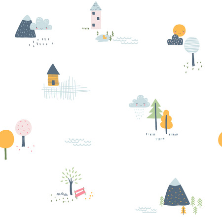 Childish seamless pattern with little houses, trees and mountains. Vector illustration. Use for textile, print, surface design, fashion kids wear