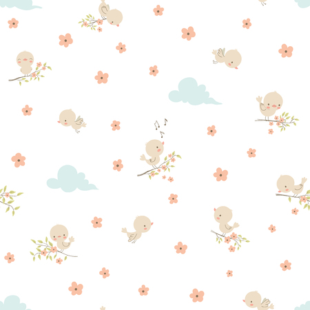 Cute little birds. Seamless pattern. Vector illustration. Use for textile, print, surface design, fashion kids wear
