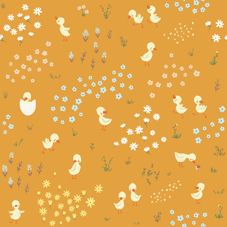 Cute little ducks childish seamless pattern. Vector illustration. Use for textile, print, surface design, fashion kids wear