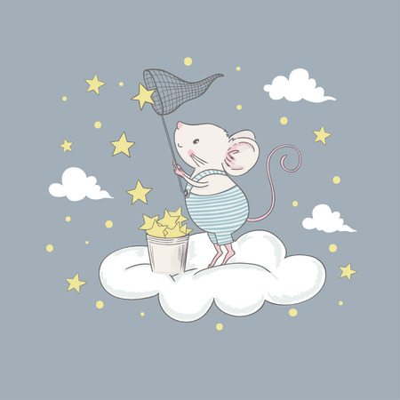 Cute little mouse on the cloud. Cartoon vector illustration for kids. Use for print design, surface design, fashion kids wear, baby shower