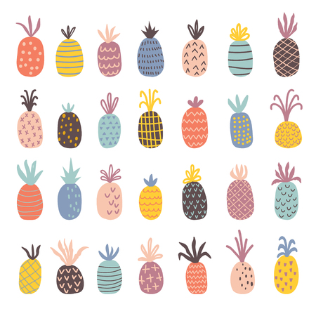 Hand drawn pineapples set. Isolated cartoon vector illustration in scandinavian style