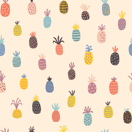 Hand drawn pineapples seamless pattern. Cartoon vector illustration in scandinavian style. Use for textile, print, surface design, fashion kids wear