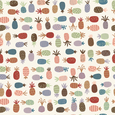 Childish seamless pattern with pineapples. Cartoon vector illustration in scandinavian style. Use for textile, print, surface design, fashion kids wear