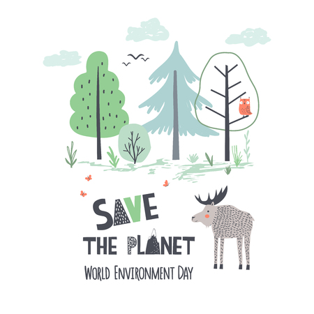 Earth Day. Hand draw vector illustration in scandinavian style for World Environment Day