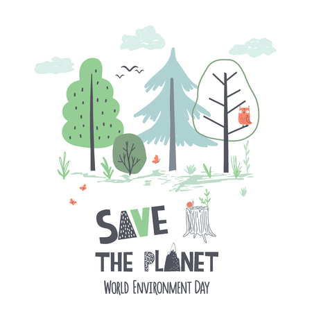Hand draw vector illustration of Earth Day. World Environment Day poster in scandinavian style