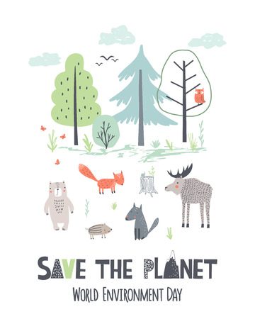 Save the planet. Hand draw vector illustration of Earth Day. World Environment Day poster in scandinavian style Ilustrace
