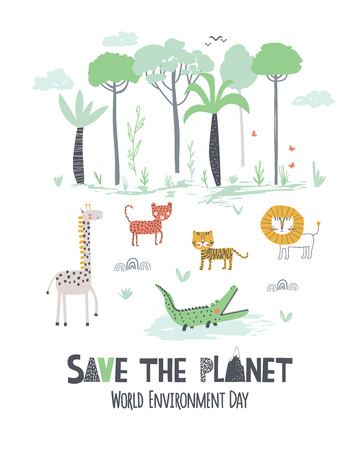 World Environment Day. Childish vector hand draw illustration for Earth day in scandinavian style