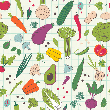 Cartoon vegetables hand draw seamless pattern. Organic and diet food. Healthy nutrition vector illustration