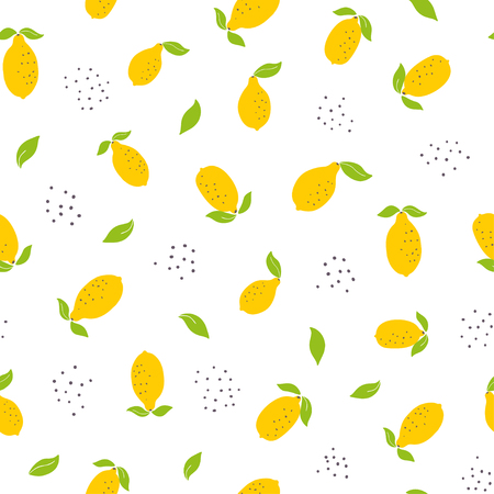 Childish seamless pattern with bright lemons. Summer fruits vector print. Use for textile, print, surface design, fashion kids wear Ilustrace