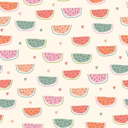 Childish seamless pattern with watermelon in scandinavian style. Hand draw summer illustration. Use for textile, print, surface design, fashion kids wear