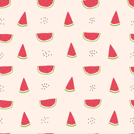 Childish seamless pattern with watermelon slice. Hand draw summer illustration. Vector sketch in scandinavian style. Use for textile, print, surface design, fashion kids wear Vectores