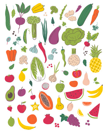 Insieme dell'illustrazione di tiraggio della mano di frutta e verdura. Alimenti biologici e dietetici. Elementi isolati del fumetto di nutrizione sana