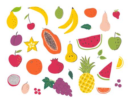 Fruits hand draw illustration set. Organic and diet food. Healthy nutrition cartoon isolated elements Ilustração