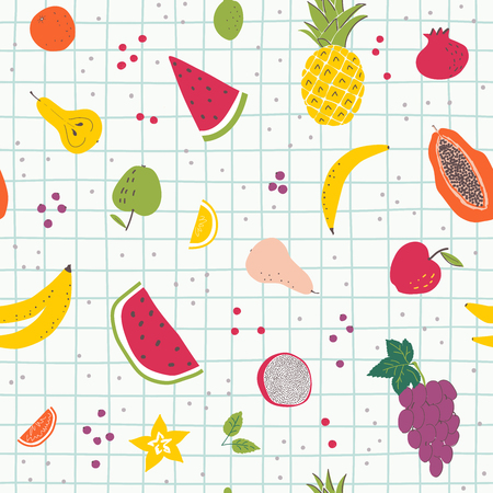 Cartoon  organic fruits hand draw seamless pattern. Organic healthy food in scandinavian style. Use for textile, print, surface design, fashion kids wear