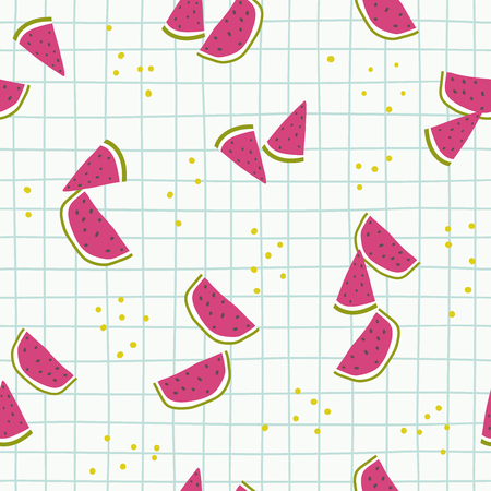 Cartoon watermelon hand draw seamless childish pattern. Hand draw summer illustration. Vector sketch in scandinavian style. Use for textile, print, surface design, fashion kids wear Vectores